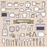 Set of cooking tools and kitchen simple line flat design icons set vector Royalty Free Stock Photo