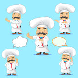 Set of cooks in different poses, with different objects for advertising and for animation Stock Images