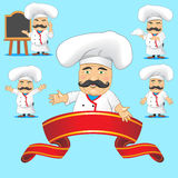 Set of cooks in different poses, with different objects for advertising and for animation Stock Photos