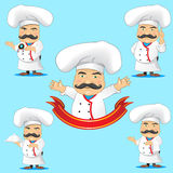 Set of cooks in different poses, with  objects for advertising and  animation Royalty Free Stock Images