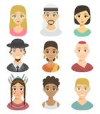 Cool avatars different nations people portraits ethnicity different skin tones ethnic affiliation and hair styles vector. Set of cool avatars different nations Royalty Free Stock Photography