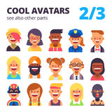 Set of cool avatars. 2 of 3. See also other parts. Royalty Free Stock Photography