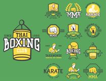 Set of cool fighting club emblems martial training champion graphic style punch sport fist karate vector illustration. Set of cool fighting club emblems, labels Royalty Free Stock Photos