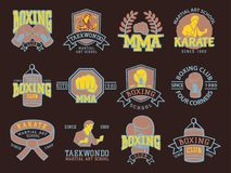Set of cool fighting club emblems martial training champion graphic style punch sport fist karate vector illustration. Set of cool fighting club emblems, labels Stock Images