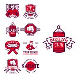 Set of cool fighting club emblems martial training champion graphic style punch sport fist karate vector illustration. Set of cool fighting club emblems, labels Royalty Free Stock Photography