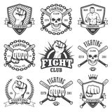 Set of cool fighting club emblems. Labels, badges, logos. Monochrome graphic style Royalty Free Stock Image