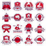 Set of cool fighting club emblems, labels, badges vector. Set of cool fighting club emblems, labels, badges, logos. Martial training champion graphic style Royalty Free Stock Photos