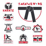 Set of cool fighting club emblems labels fight badges punch sport fist karate vector illustration. Set of cool fighting club emblems, labels, fight badges Royalty Free Stock Photography