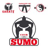 Set of cool fighting club emblems labels fight badges punch sport fist karate vector illustration. Set of cool fighting club emblems, labels, fight badges Royalty Free Stock Photos