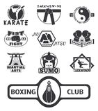 Set of cool fighting club emblems labels fight badges punch sport fist karate vector illustration. Set of cool fighting club emblems, labels, fight badges Royalty Free Stock Images