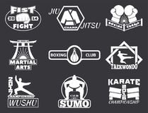 Set of cool fighting club emblems labels fight badges. Set of cool fighting club emblems, labels, fight badges, logos. Martial training champion graphic style Stock Image