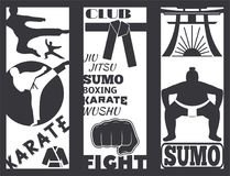 Set of cool fighting club brochure fight cards punch sport fist karate vector illustration. Set of cool fighting club fight cards. Martial training champion Stock Images