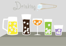 Set of cool glass of iced, illustrations Royalty Free Stock Photos