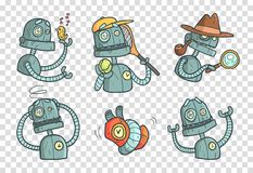 Set with metal robot with different emotions. Cartoon mechanical android in outline style with colorful fill. Vector for. Set with cool metal robot with stock illustration