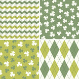Set of cool seamless background patterns in green  Stock Image