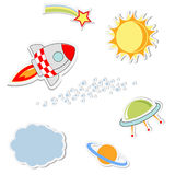 Set of cool space stickers Royalty Free Stock Photo