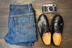 Set of cool stuff on wooden backdrop Stock Photography