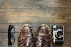 Set of cool stuff on wooden backdrop Stock Photos
