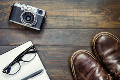 Set of cool stuff on wooden table Royalty Free Stock Photos