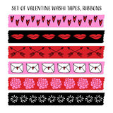 Set of cool Valentine washi tapes, ribbons with doodle patterns.  vector objects. Funny design. Royalty Free Stock Photos