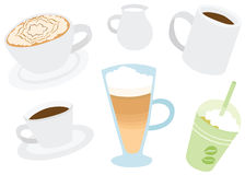 Set of Cool Various Coffee Drinks Set Royalty Free Stock Images