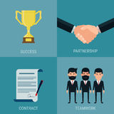 Set of cooperate business success concept. Trophy ,handshake, contract, teamwork. Royalty Free Stock Images