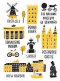 Set Copenhagen przyciągania w doodle stylu literowanie Robić w wektorze ilustracji
