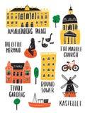 Set Copenhagen przyciągania w doodle stylu Robić w wektorze ilustracji