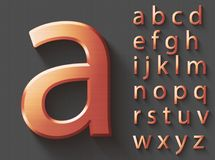 Set of copper 3D lowercase english letters. Copper metallic shiny font on gray background. Good typeset for technology and production concepts. Transparent Stock Illustration
