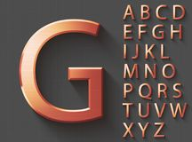 Set of copper 3D uppercase english letters. Copper metallic shiny font on gray background. Good typeset for technology and production concepts. Transparent Vector Illustration