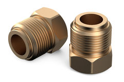Set of copper fittings. Isolated on white background Stock Photography