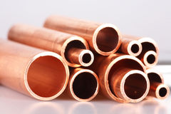 Set of copper pipes Royalty Free Stock Images