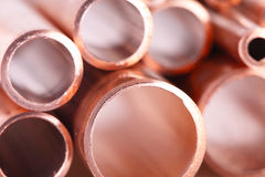 Set of copper pipes Royalty Free Stock Photos