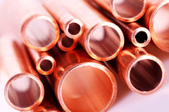 Set of copper pipes Stock Images