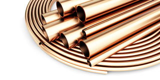 Set of copper pipes of different diameter . Isolated on White Background. Royalty Free Stock Photos