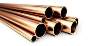 Set of copper pipes of different diameter .  on White Background Stock Image
