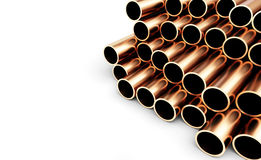 Set of Copper Pipes. Isolated on White Background. Royalty Free Stock Photography