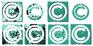 Set of copyright symbol isolated Stock Photos