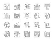 Set Copywriting linii ikony Maszyna do pisania, prezentacje, drukarka i więcej, ilustracji