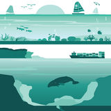 Set of Coral Reef and Deep Undersea Landscape. Vectors Stock Images