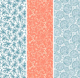 Set of coral and sea star seamless. For your business Stock Images
