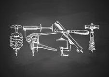 Set corkscrews na chalkboard Obraz Stock