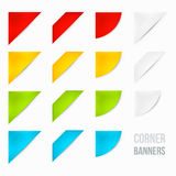Set of Corner Banners. 15 Corner Banners. Corner Ribbons. Side Banners royalty free illustration