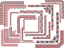 Set of Corner Patterns for Embroidery Stitch Royalty Free Stock Photos