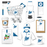 Set of corporate identity, cart, uniform, flyer, shirt, package Stock Photography