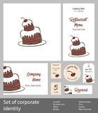 Set of corporate identity elements cake with cherry Royalty Free Stock Image