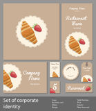 Set of corporate style restaurant with croissant royalty free illustration