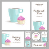 Set of corporate style restaurant. Set of corporate identity for a restaurant, cafe or confectionery, cake with pink cream in a basket and turquoise cup on a Royalty Free Stock Photos