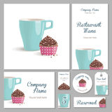 Set of corporate style restaurant. Set of corporate identity for a restaurant, cafe or confectionery, chocolate cake with cream in pink wrapper with polka dots Stock Photography