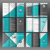 Set of corporate trifold brochure templates design. With world map infographic element and place for photo. Royalty Free Stock Photo